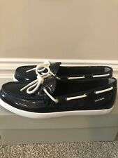 Cole Haan Patern Leather Boat Shoes  Women Size 9 NWB NAVY BLUE