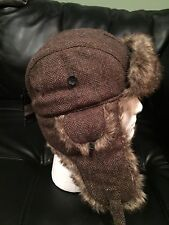 Blue Harbour Marks Spencer M & S Wool Hat w/ Ear Flaps Yorkshire Tweed By Moon