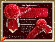 Herringbone With  Gold Diamantes DESIGN   BY STARLIGHTBROWBANDS Bling Red