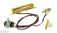 Gold Lipstick Tube Single Coil Guitar Pickup Harness Pre-wired with Volume/Jack