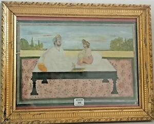 ANTIQUE RARE GENUINE INDIAN PAINTING MINIATURE OLD 18/19TH PEINTURE INDIENNE