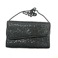 """Vintage Purse Clutch Strap Sequin Black Gold Evening 6"""" tall x 10"""" wide"""