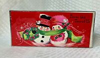Vintage MCM Embassy Snowman & Snowwoman Christmas Cards Sealed Box Set Couple