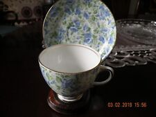 Old Royal Blue Pansy Chintz Bone China Cup and Saucer - England - RARE
