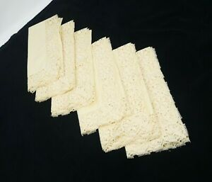 """Vintage Cream Color with Gorgeous Lace Napkin set of 6 17"""" by 17"""""""