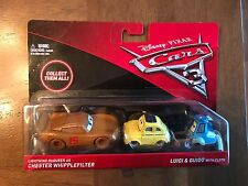 DISNEY PIXAR CARS 3 MCQUEEN AS CHESTER WHIPPLEFILTER / LUIGI & GUIDO W/CLOTH N7!