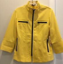 NWT MULTIPLES Womens Casual Yellow Zip Top Blazer Jacket Size Petite Small New!