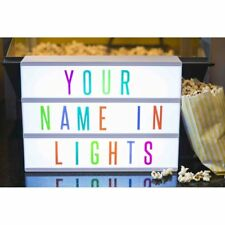 NEW A4 LIGHT UP MULTICOLOURED LETTERS BOX CINEMATIC LED SIGN PARTY WEDDING SHOP
