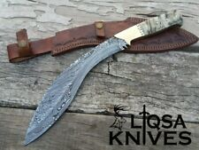 CUSTOM HANDMADE DAMASCUS STEEL KUKRI GURKHA KUKRI WITH RAM HORN HANDLE