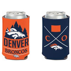 2 PC DENVER BRONCOS CAN COOLER KOOZIE SET 2 SIDED NFL OFFICIALLY LICENSED NEW!