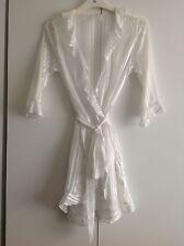 Ex-Store Sheer White Chiffon Short Dressing Gown/Robe Uk Sizes 8-20