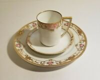 Antique Nippon Pink Roses Demitasse Cup, Saucer and Plate