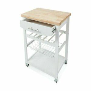 Wooden Kitchen Utility Trolley Cart Drawer 2 Shelves Cabinet Rack White KK
