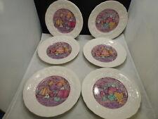 "6 lovely Gien 8.5"" dessert plates Les Delices Collection Gateaux, Fruits, Sorbet"