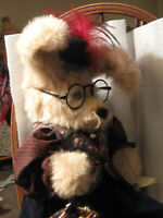 "Rabbit Artist made 17"" victorian outfit, hat glasses purse jointed PRISTINE WOW"
