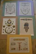 5 original chromolithographs of jewellery. Marriage of Prince of Wales 1863