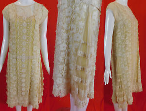 Vintage 20s Embroidered Cream Net Filet Lace & Yellow Silk Slip Drop Waist Dress