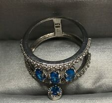 Sterling Silver Elegant Ring With Crystal Blue Gemstones Women