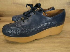 Vintage Famolare Navy Blue Whipstitch Leather Lace Wavy Platform Oxfords 10