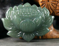 Chinese natural Hetian jade hand-carved beautiful lotus flower pendant