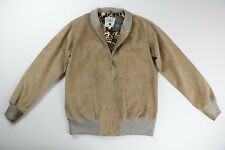 Golden Bear x HUF NEW Tan Suede Leather Bomber Varsity Jacket L Large $600 NWT