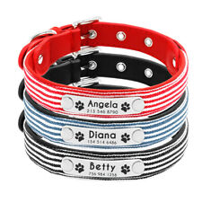 Personalised Dog Collar Stripe Fabric Soft Adjustable Pet Collar Free Engraving