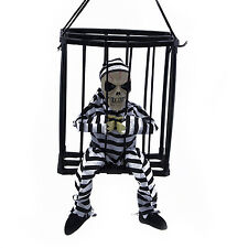 Halloween Haunted House Motion Sensor Light Up Talking Skeleton Prisoner Cage