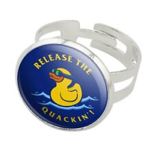 Release the Quackin' Kraken Duck Funny Silver Plated Adjustable Novelty Ring