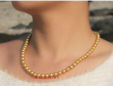 """ROUND AAAAA 18""""9-10MM NATURAL real south sea golden yellow pearl necklace 14K"""