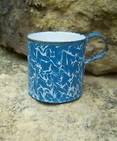 Antique Blue & White Swirl Graniteware Enamelware Mush Mug Camp Coffee Cup