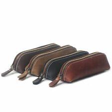 Handmade Leather Pencil Bag Retro Style Cowhide Pen Case School Bag Glasses Case