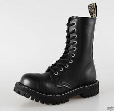 LADIES STEEL METAL REINFORCED TOE CAP TOUGH PUNK BLACK LEATHER BOOTS, UK 6