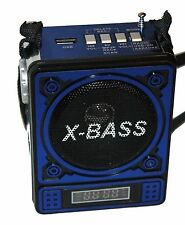Lautsprecher Portabel Akku Mini Box Musikbox Radio MP3 Player Micro-SD USB (Blau