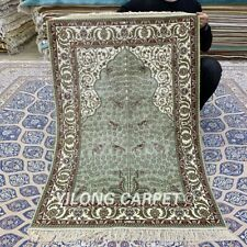 YILONG 2.75'x4' Green Handmade Silk Carpet For Prayer Antique Area Rug YXR325B