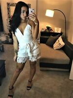 New White Jumpsuit Womens Small Playsuit Shorts Strappy Size 6 & 8