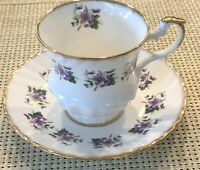 Royal Dover Fine Bone China Teacup And Saucer!  Purple Violets