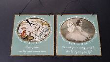Shabby Vintage Chic Metal Tin Illustrated Fairy Fairies Plaque Sign With Quotes