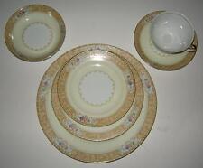 M Japan Estre 41 pcs., Platters, Soup and Fruit Bowls, Cups Gold Scrolls Trim