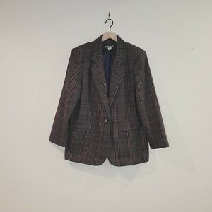 Savannah Vintage Plaid Brown Single Button Blazer Size 12