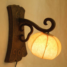 Paper Wall Mount Lampshade Art Deco Yellow Sconce Brown Lamp Shade Lantern Light