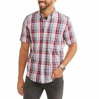 George Men's Wrinkle Resistant Short Sleeve Shirt - 4XL 58-60 Greystone Plaid