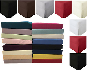 Plain Dyed Platform Base Valance Box Pleated Polycotton Sheets All Sizes Colours