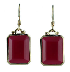 Casual Earrings with Natural Pink Onyx 18k Yellow Gold 21.501 Ct. Gemstone