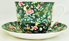 Green Petite Bombay Large Cup & Saucer Bone China Breakfast Set Hand Decorate UK