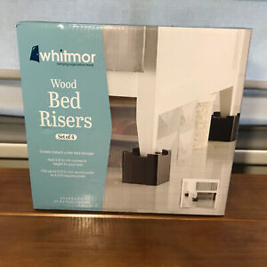 New Set of 4 Whitmor Wood Bed Risers Espresso