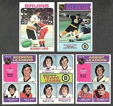 1975-76 BOBBY ORR Complete 5 Card Topps Set ALL NM-MT 8 Or Better BEAUTIFUL Lot