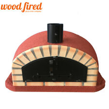 brick outdoor wood fired Pizza oven 100cm Maxi-Italian red with black door