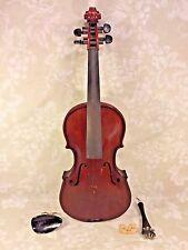 Antique Violin Oak Back No Maker Label Quite Heavy Dark Red Brown Stain w/ Case