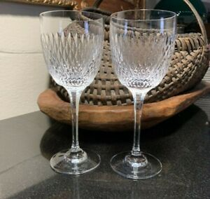 "2 Rogaska Crystal 7 1/2"" Vertical Cut Wine Glasses Slovenia - Excellent"