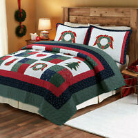 Happy Christmas 3-Piece 100%Cotton Quilt Bedding Set, Bedspread,Coverlet